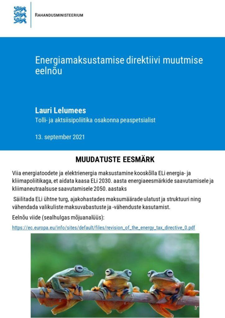 Energiamaksustamise direktiivi muutmise eelnõu